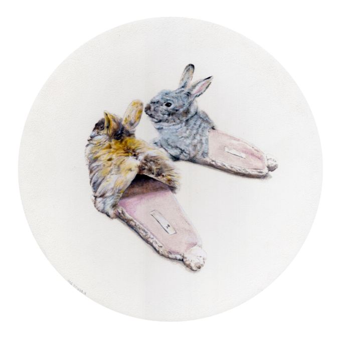 kirsten-beets_bunny-slippers-dont-need-feeding_oil-paint-on-board_320mm-diameter_hr