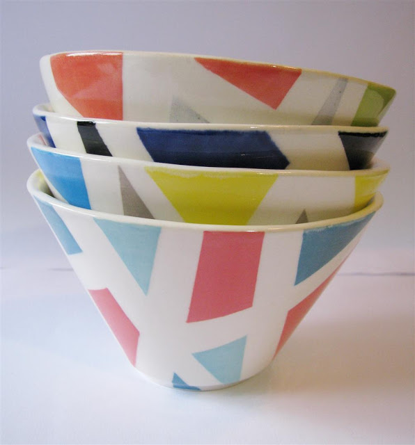 4 bowls geometric Token ceramics