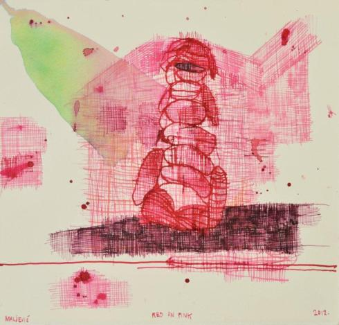 Maja Maljević-Red-on-Pink-2012-Ink-on-Paper-Drawing-LR2