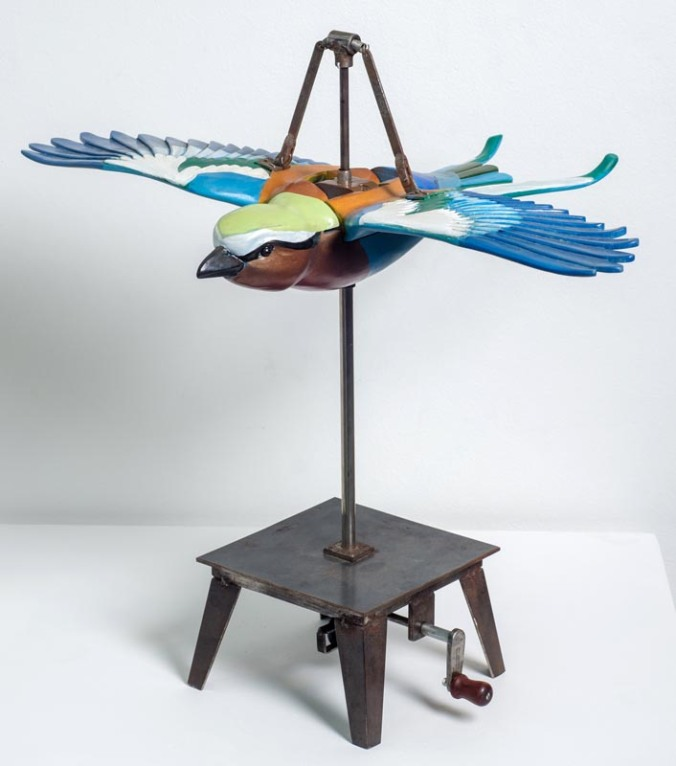 EDZARD-DU-PLESSIS.-Lilac-Breasted-Roller-2015.-Hand-painted-carved-wood.-390-x-490-x-460mm